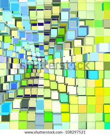 3d abstract cube pattern blue green yellow backdrop - stock photo