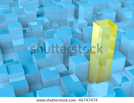 3D abstract cubes - stock photo