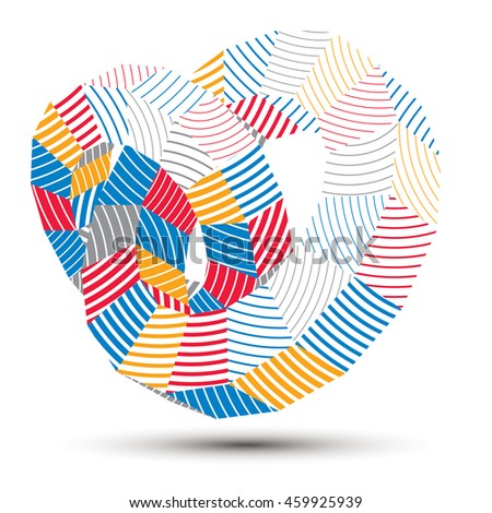 3D abstract design object, polygonal complicated figure. Colorful three-dimensional deformed striped shape, render.
