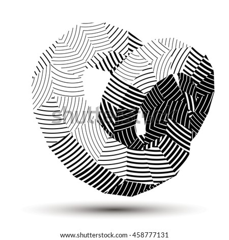 3D abstract design object, polygonal complicated figure. Grayscale three-dimensional deformed striped shape, render. - stock photo