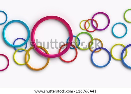 3D abstract design with colorful circles on white background - stock photo
