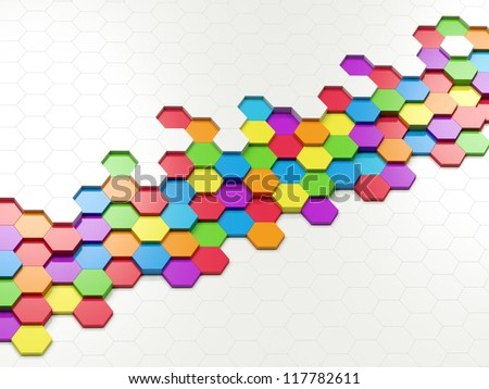 3d abstract design with colorful hexagons on white background - stock photo