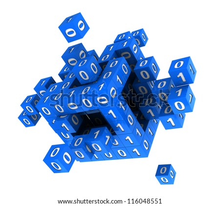 3d abstract digital  blue cube with  binary code - stock photo