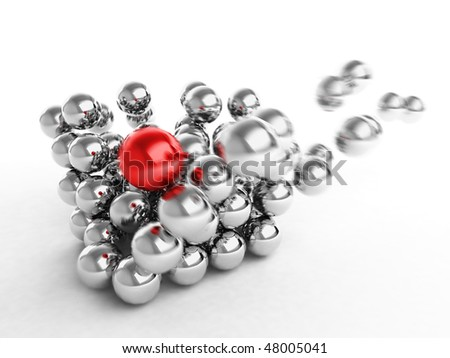 3d abstract dynamic of glossy silver balls - stock photo