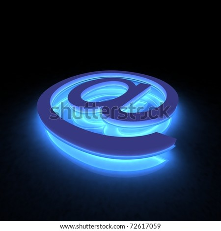 3D abstract E-mail symbol in the neon light - stock photo