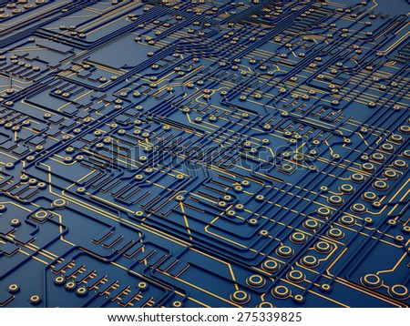 3d abstract electronic background, microchips on a circuit board - stock photo