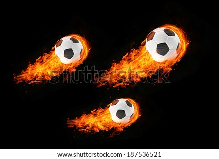 3d abstract expressive flame soccer football background - stock photo