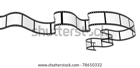 3d abstract filmstrip. Object isolated over white - stock photo