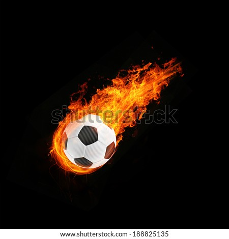 3d abstract flamed football fireball background - stock photo