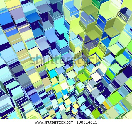 3d abstract fragmented pattern in blue yellow green - stock photo