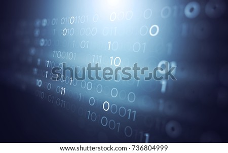 3D Abstract Futuristic Technology User Interface with Binary Code Illustration Render Background