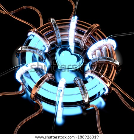 3d abstract generator to the heart glow. - stock photo