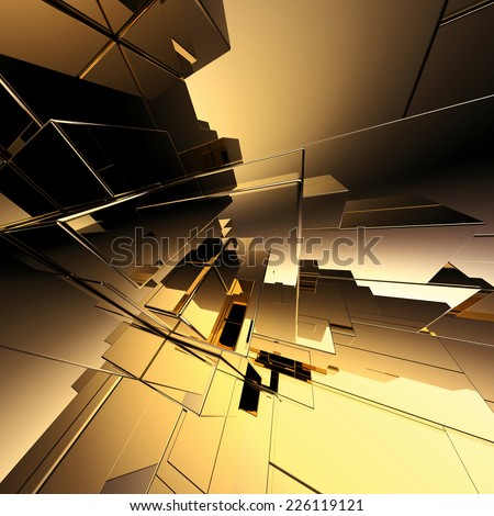 3d abstract geometric background, gold futuristic structure - stock photo