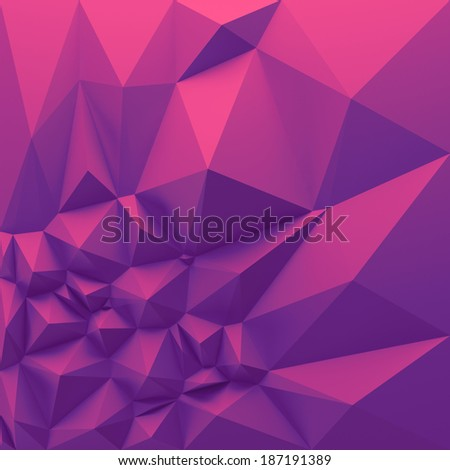 3d abstract geometric background, purple polygon shapes - stock photo