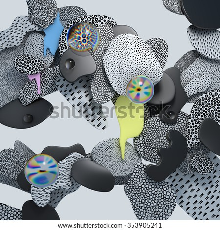 3d abstract geometric shapes textured with small dashes, dots and circles - stock photo