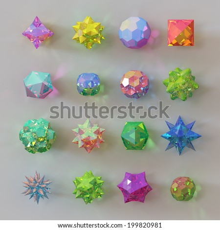 3d abstract geometrical shapes, glass rainbow beads, crystals, gems and jewels - stock photo