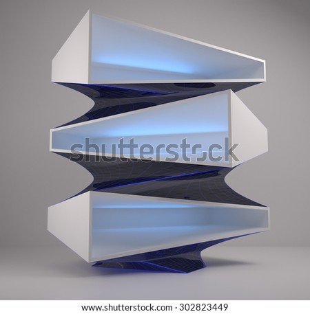 3d abstract geometry architecture concept design