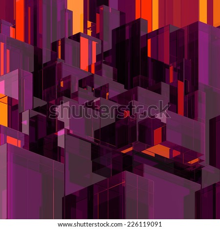 3d abstract glass background, modern purple faceted structure - stock photo
