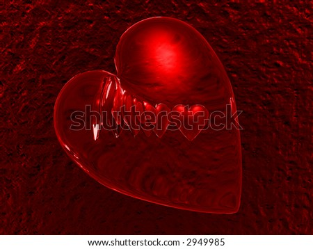 3d abstract glass heart - stock photo