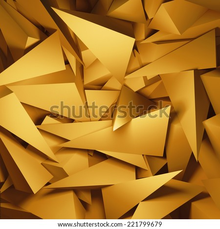 3d abstract gold geometric background - stock photo