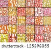 3d abstract graffiti spray tag font number backdrop - stock photo