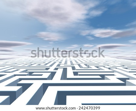 3d abstract horizontal background with maze and blue sky with clouds. - stock photo