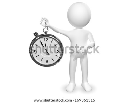 3d abstract illustration of a man with a clock