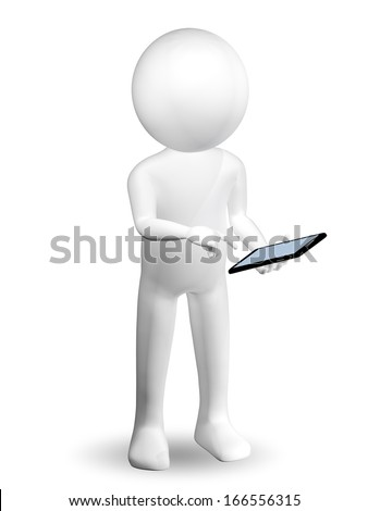 3d abstract illustration of a man with a smartphone - stock photo