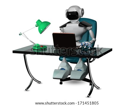 3d abstract illustration of a robot at the table - stock photo