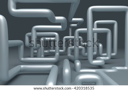 3D  abstract  illustration of pipelines on a gray background - stock photo