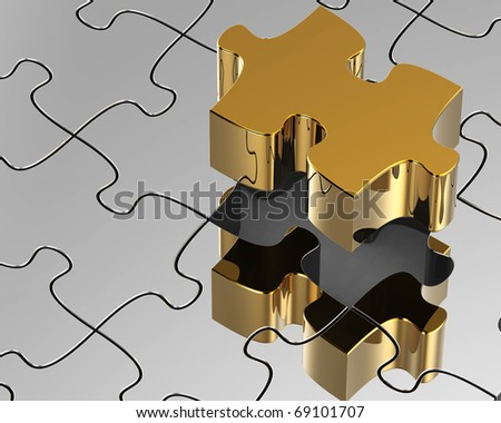 3d,abstract  jigsaw puzzle - stock photo