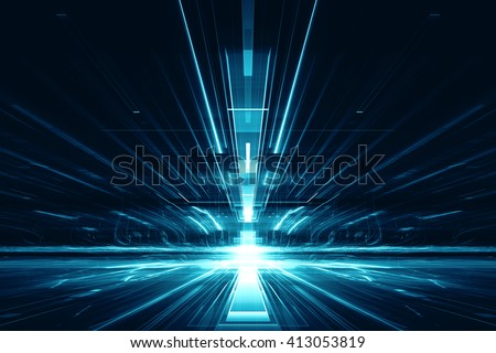 3d abstract lens flare space or time travel concept background - stock photo