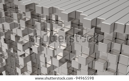 3d abstract  metal bars - stock photo