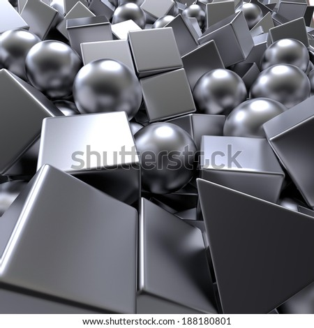 3d abstract metallic balls and cubes background, mixed objects pile - stock photo