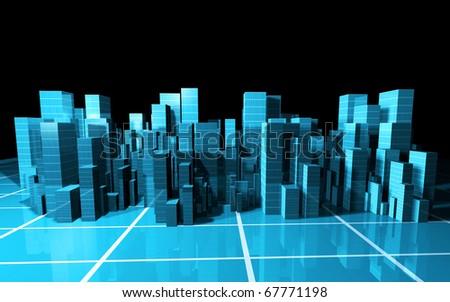3d abstract metropolis - stock photo