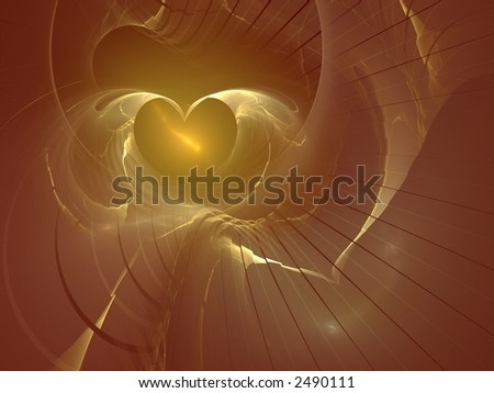 3d abstract of a golden heart - stock photo
