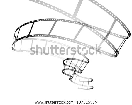 3d abstract photographic film. Object isolated over white - stock photo