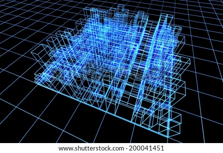 3d abstract project of city buildings - stock photo