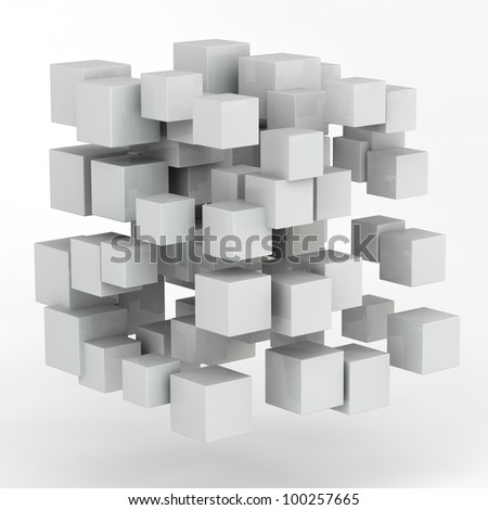 3d abstract random shape from cubes - stock photo