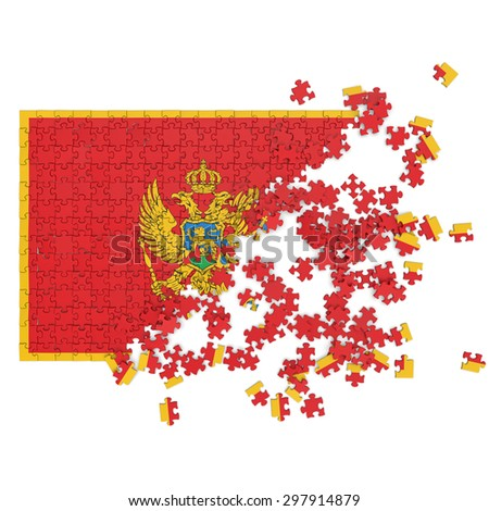 3d abstract randomly scattered puzzle flag of the Montenegro