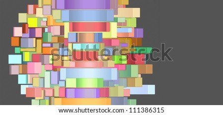 3d abstract rectangular shapes in multiple color on gray - stock photo
