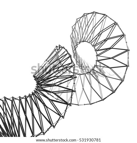 3d abstract rendering of polygonal spiral.