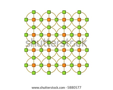 3d abstract representation of a computer network - stock photo