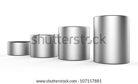 3d abstract round metal bars - stock photo