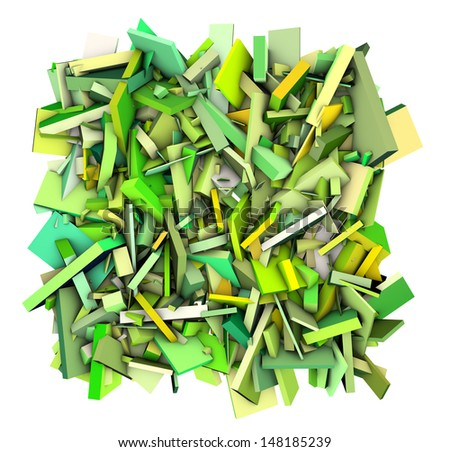 3d abstract shape fragmented green yellow - stock photo