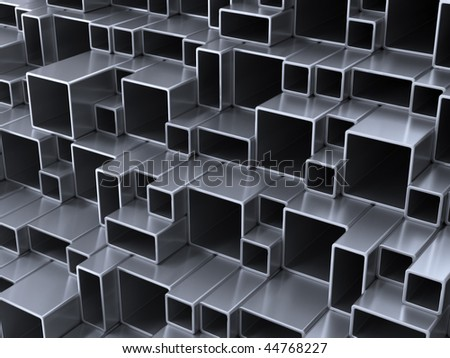 3d abstract silver metal tubes - stock photo