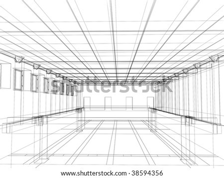 3d abstract sketch of an interior of a public building