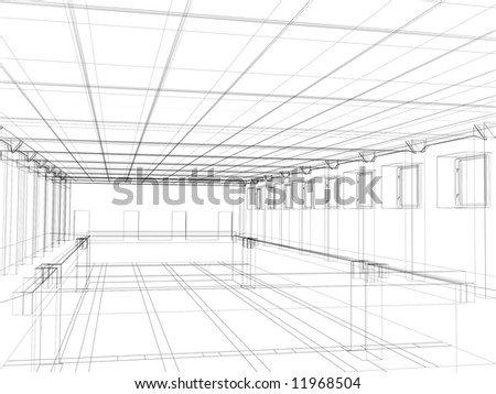 3d abstract sketch of an interior of a public building. Object over white - stock photo