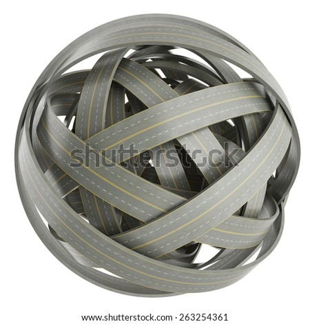 3d abstract sphere of tangled roads, isolated on white background. 3d illustration high resolution - stock photo