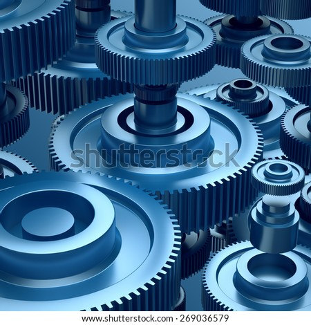 3d abstract steel gearwheels background, industrial elements - stock photo